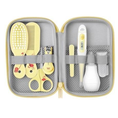 Set de 1er soin bébé ciseaux bébé, brosse, thermometre